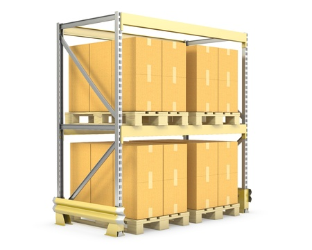 Pallet rack with cargo, isolated on white background photo