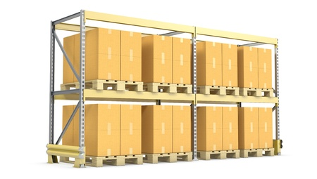 Pallet rack with cargo, isolated on white background