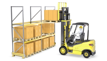 Forklift truck loads pallet on the rack, isolated on white background Stock Photo - 16692576