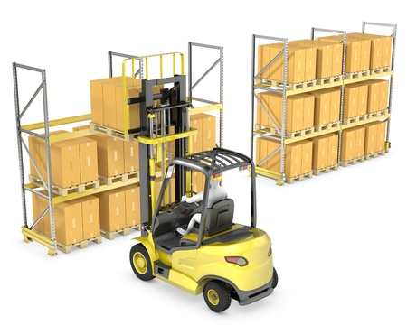 Forklift truck loads pallet on the rack, isolated on white background Stock Photo