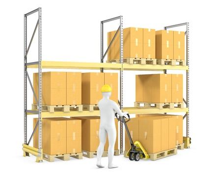 montacargas: Trabajador mueve cajas con transpaleta, aislados en fondo blanco