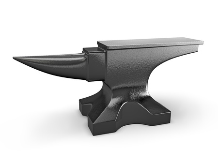 forge: Black metal anvil isolated on white background Stock Photo