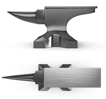 Black metal anvil, two views isolated on white background