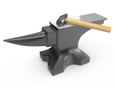 Hammer on a metal anvil isolated on white background Standard-Bild