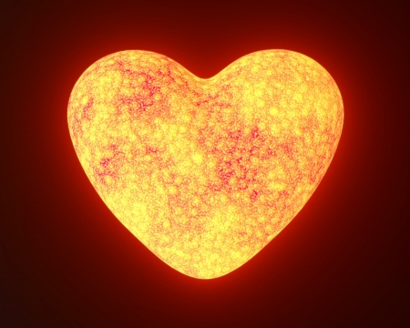 Red hot metal glowing heart isolated on black Standard-Bild