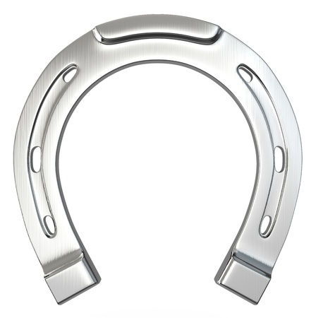 lucky charm: Single scratched silver horseshoe isolated on white background