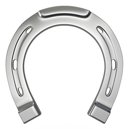 mojo: Single silver horseshoe isolated on white background Stock Photo