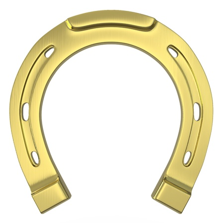 fer   � cheval: Simple ray� golden horseshoe isol� sur fond blanc