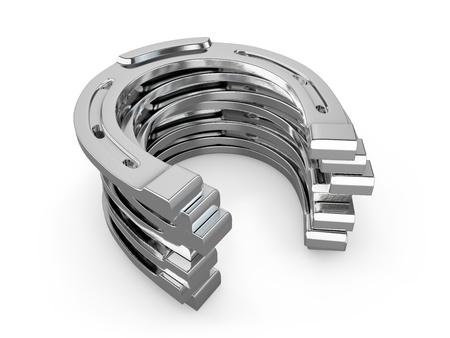 Few silver horseshoes isolated on white background