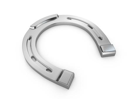 Single scratched silver horseshoe isolated on white background