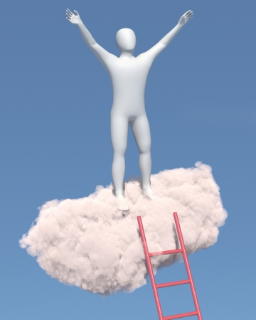 relaxes: Hombre blanco Resumen relaja en una nube en el cielo
