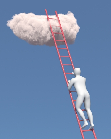 Abstract white man climbs to the cloud in the sky
