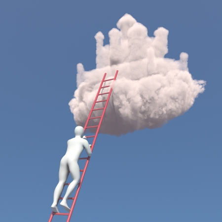 Abstract white man climbs to the cloud castle in the sky Standard-Bild