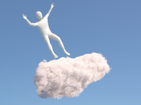 Abstract white man falls of the cloud in the sky