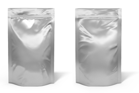 silver foil: Foil bag package isolated on white background Stock Photo