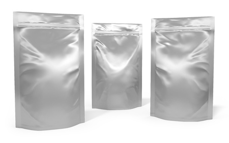 Three foil bag packages isolated on white background Standard-Bild