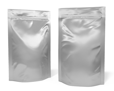 silver foil: Two foil bag packages isolated on white background Stock Photo