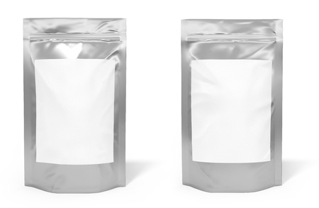 Foil bag package with blank space for label photo