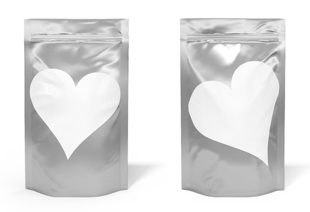 Foil bag package with heart shaped label isolated on white background