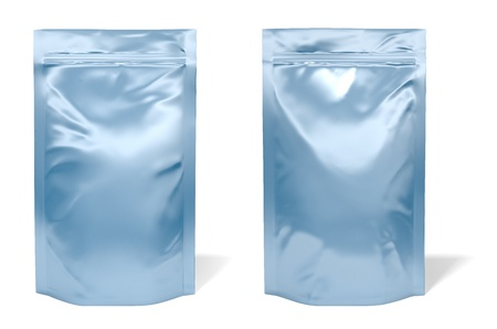 Blue foil bag package isolated on white background photo