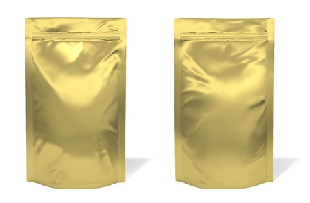 Golden foil bag package isolated on white background photo