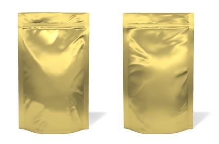 Golden foil bag package isolated on white background Standard-Bild