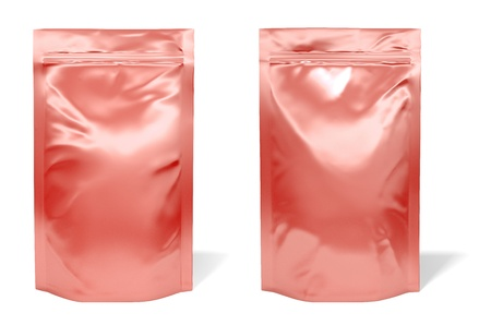 food package: Red foil bag package isolated on white background