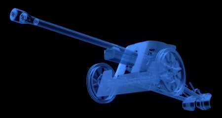 wheel barrel: X-ray of artillery cannon on black background