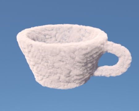 Empty cup made of clouds on blue background