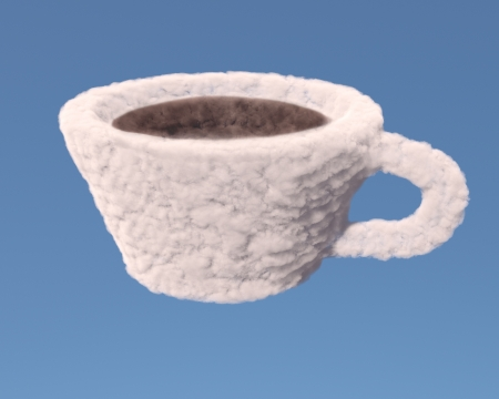 Cup of coffee or tea made of clouds on blue background