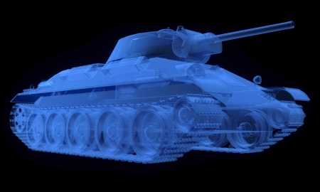 X-ray version of soviet t34 tank isolated on black