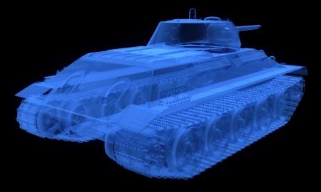 war tank: Versi�n de rayos X del soviet tanque t34 aislado en negro
