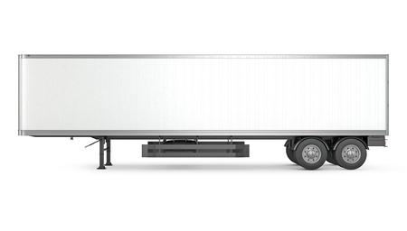 Lege witte geparkeerde oplegger, zijaanzicht, geïsoleerd op een witte achtergrond Stockfoto