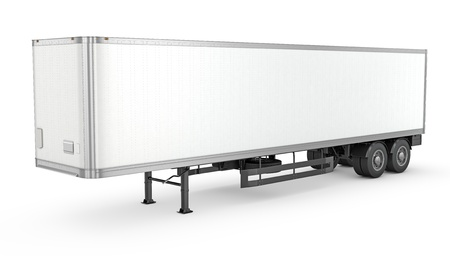 Blank white parked semi trailer, isolated on white background photo