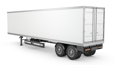 semi trailer: Blank white parked semi trailer, isolated on white background Stock Photo