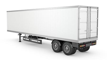 Blank white parked semi trailer, isolated on white background Standard-Bild