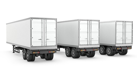 Three blank white parked semi trailers, isolated on white background