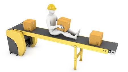 Worker sits on belt conveyor isolated on white background Standard-Bild