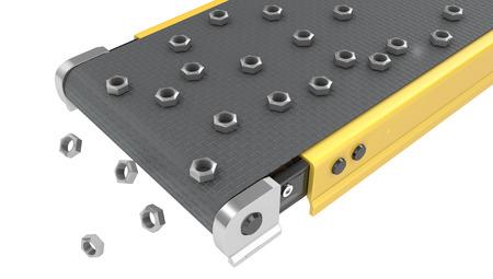 Screw nuts on belt conveyor isolated on white background