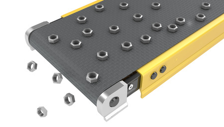 conveyor: Screw nuts on belt conveyor isolated on white background