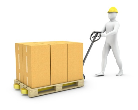 Abstract worker moves cargo on a pallet jack, isolated on white background Standard-Bild