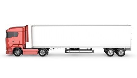 Red truck with white blank semi-trailer isolated on white background Stock Photo
