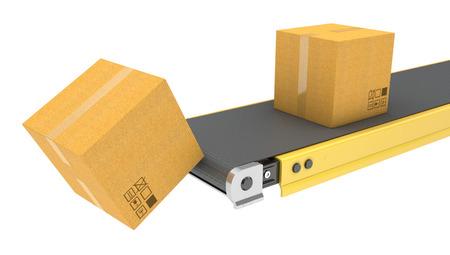 Belt conveyor with carton boxes isolated on white background
