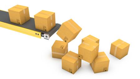 Belt conveyor with falling carton boxes isolated on white background