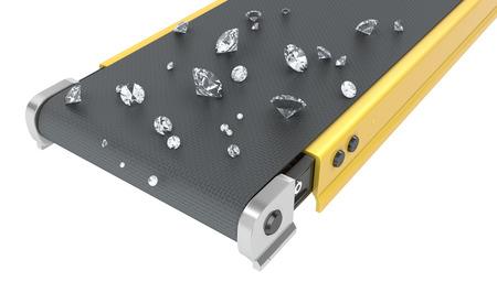 Belt conveyor with diamonds isolated on white background