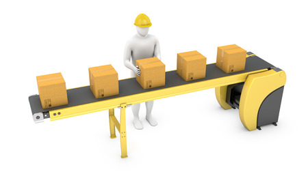 cinta transportadora: Trabajador ordena paquetes en cinta transportadora aislados sobre fondo blanco