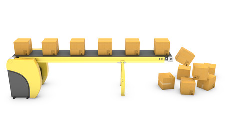 cinta transportadora: Cinta transportadora con la ca�da de cajas de cart�n aisladas sobre fondo blanco Foto de archivo