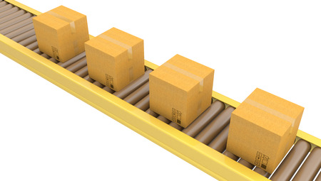 Roller conveyor with carton boxes isolated on white background