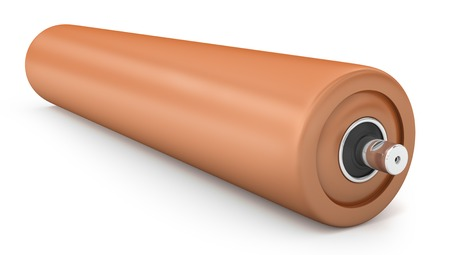 Orange plastic for drum conveyor isolated on white background