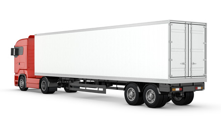 container truck: Red truck with white blank semi-trailer isolated on white background Stock Photo